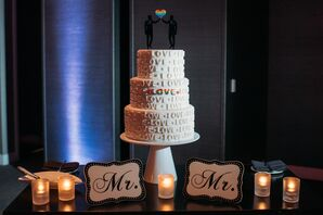 Round Tiered Cake with Pride Rainbow Cake Topper
