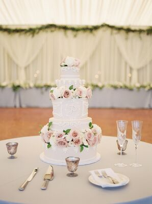 Blush Buttercream Cake with Whimsical White Piping