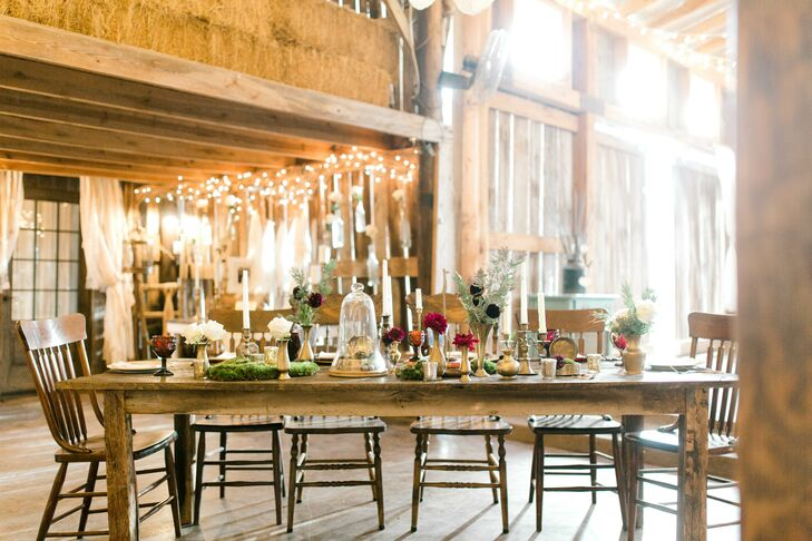Bohemian Barn Reception with Vintage Farm Tables, Chairs and Decor