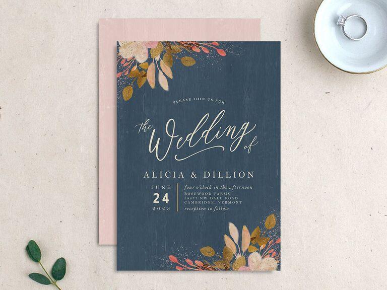 Autumnal foliage wedding invitation
