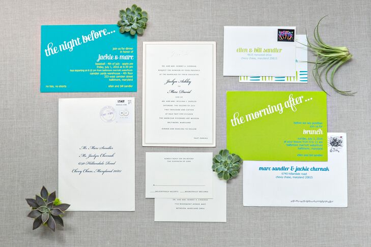 Colorful Wedding Weekend Itinerary and Invitation Suite
