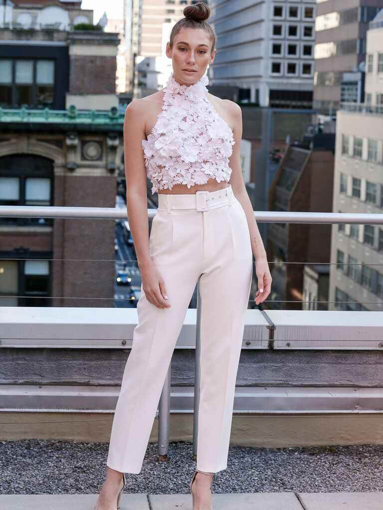 Eisen-Stein Spring 2020 Bridal Collection wedding look with trousers and high-neck appliqué top
