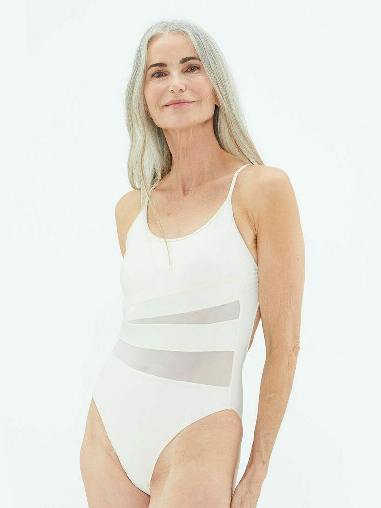 Sheer panel white one-piece