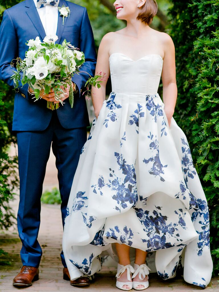 Navy Blue Blooms. White Wedding Gown ...