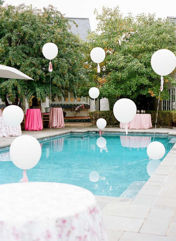 Pool Decorated with Balloons for Backyard Microwedding in Potomac, Maryland