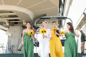 Yellow and Green Bridesmaid Rompers