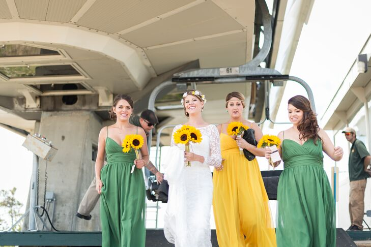 The bridesmaids wore flawy rompers that looked just like dresses but were actually pants. The maid of honor wore yellow and the bridesmaids wore green.