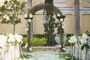 Vine, Hydrangea and Crystal Decorated Wedding Arch