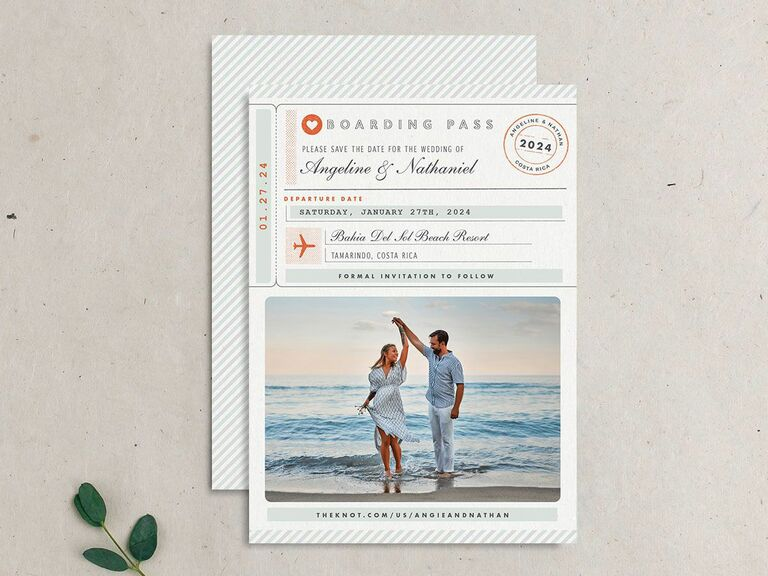 boarding pass destination wedding save the date