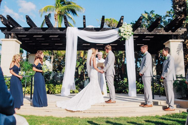 Tropical Outdoor Ceremony at the Ritz Carlton Beach Club in Sarasota, Florida