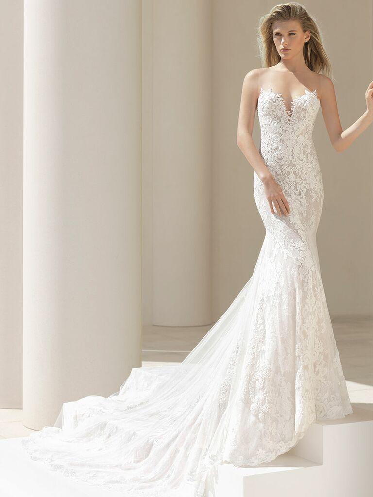 Rosa Clará Fall 2018 wedding dresses strapless column gown