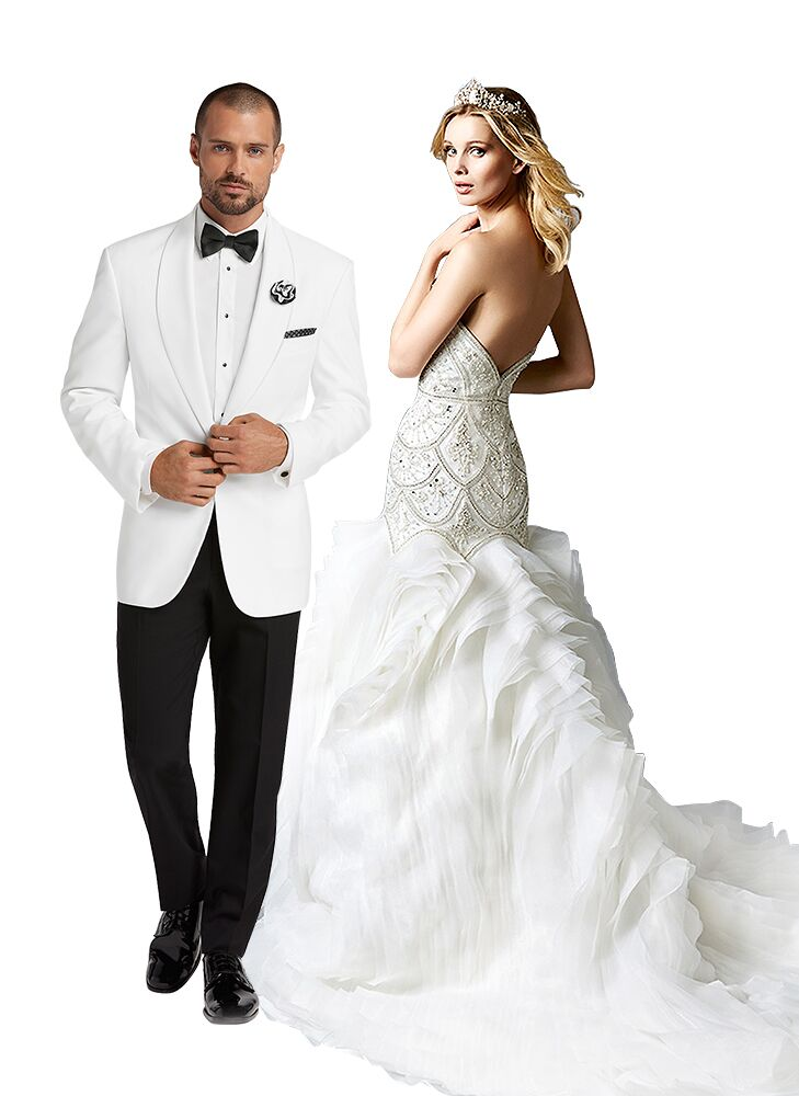 Glamorous Wedding Dress And White Tuxedo Jacket