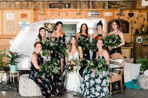 Floral-Print Bridesmaid Dresses and Tropical Bouquets