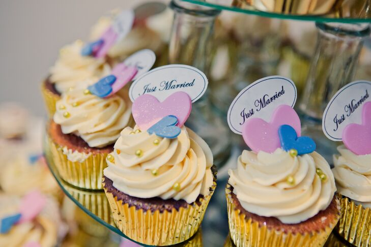 Buttercream Frosted Cupcakes With Purple Hearts
