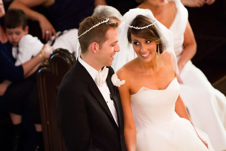 The couple's Greek Orthodox wedding ceremony included traditional stefana wedding crowns—a symbol of unity.