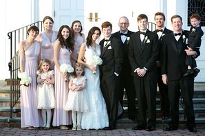 Formal Blush Bridesmaid Dresses and Black Tuxedos