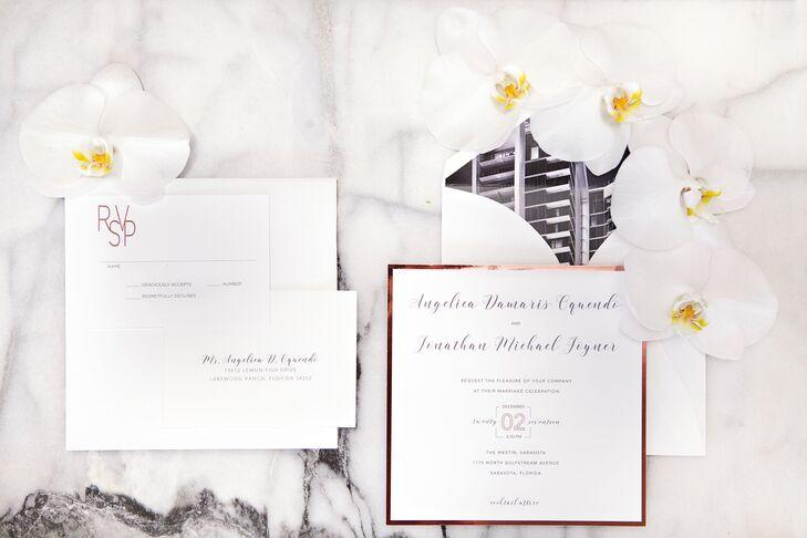 Formal Rose Gold-Framed Invitations with Photo Liner
