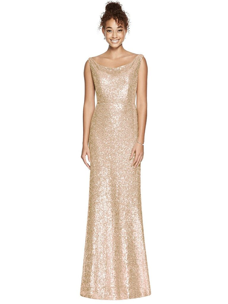 Rose gold boatneck bridesmaid dress with sequins