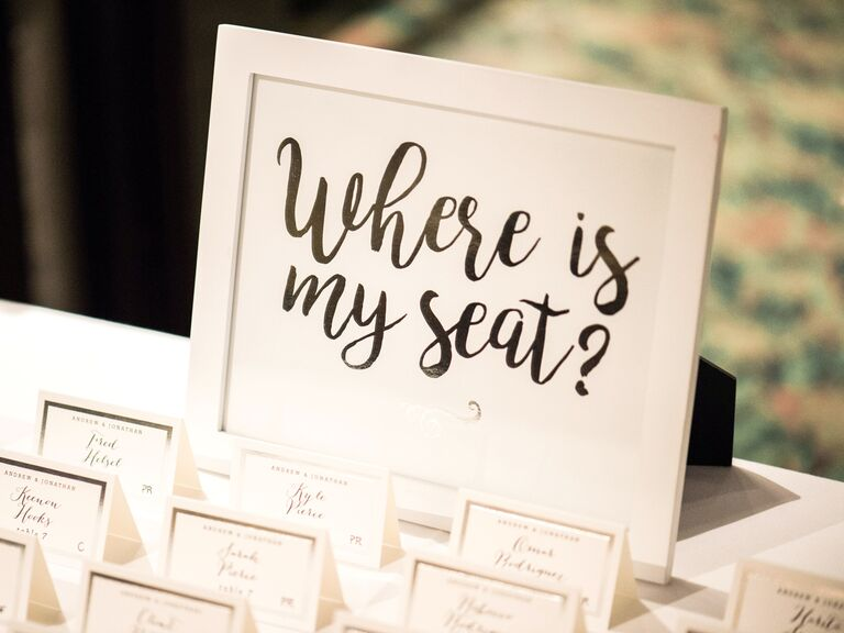 "escort card table sign ""where is my seat?"""