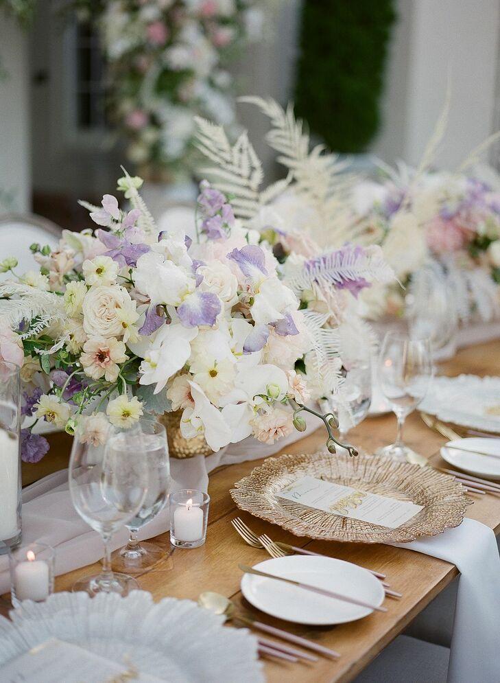Romantic Purple-and-White Centerpieces for Reception at Montalvo Arts Center in Saratoga, California