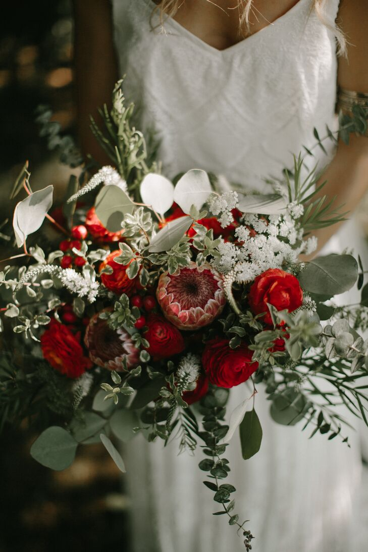 Red Roses and Eucalyptus Bouquet