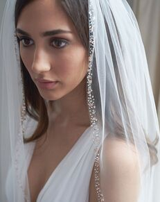 Dareth Colburn Rose Gold Beaded Veil (VB-5088) Ivory, Pink Veil