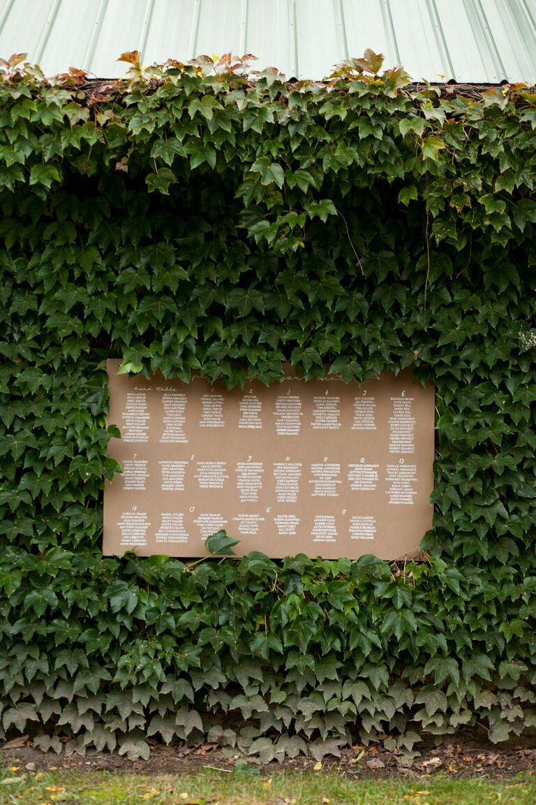 DIY kraft paper seating chart hung on ivy wall