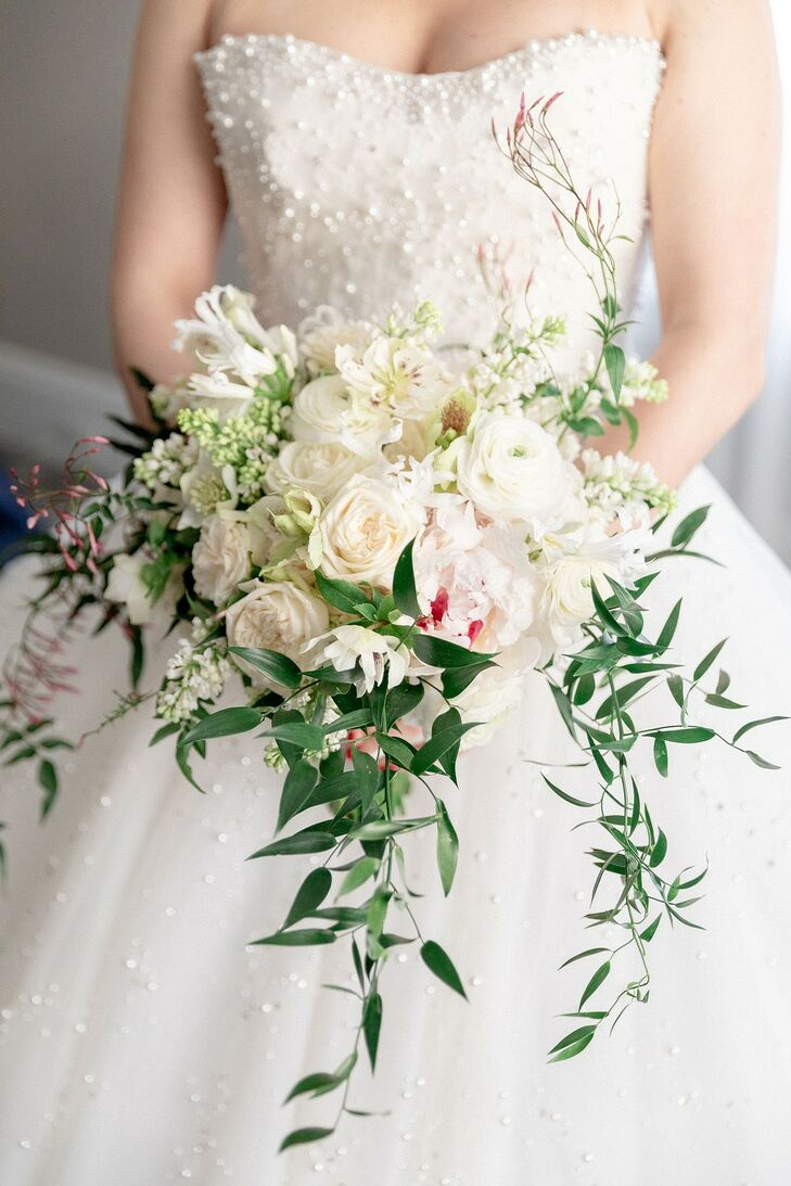 Classic White Bouquet with Peonies and Garden Roses