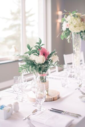 Gerbera Daisy and Fern Centerpieces