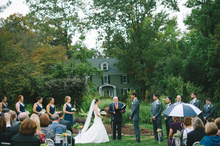 """We had our wedding at the Willowwood Arboretum in Far Hills, NJ,"" says Emily. ""We really wanted to have an outdoor wedding and Willowwood was just perfect.  It is beautiful and secluded and everywhere you go you are just surrounded by greenery."""