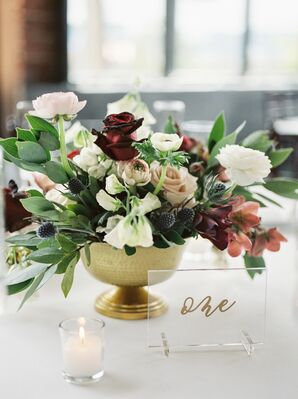 Thistle, Ranunculus and Sweet Pea Centerpieces