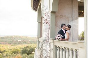 Bride and Groom on Villa Antonia Balcony in Texas