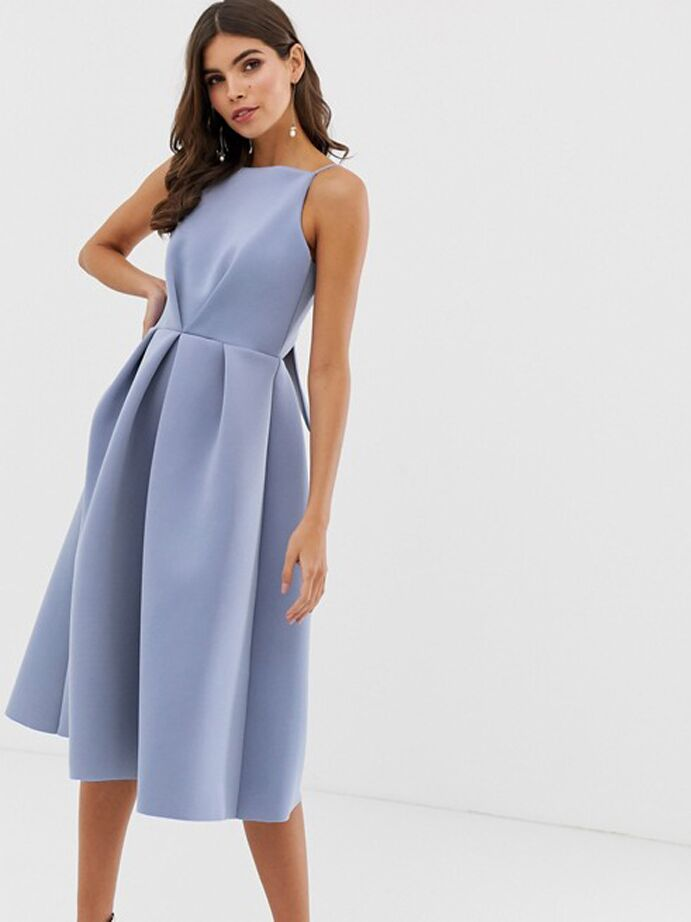 Blue midi dress with bow on back