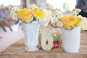 Rose, Stock and Milk Glass Centerpieces