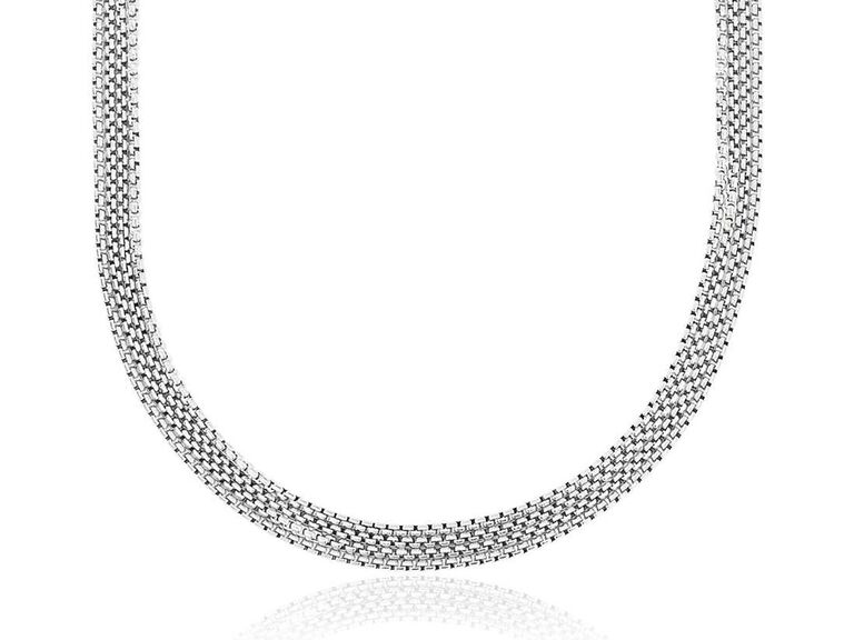 Silver chain wedding necklace