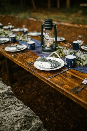 Rustic Farm Tables with Lantern Centerpieces