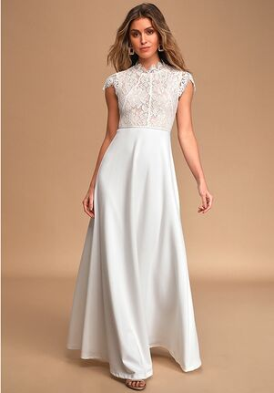 Lulus This Heart of Mine Ivory Lace Maxi Dress A-Line Wedding Dress
