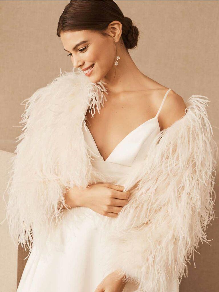 Feathered ivory wedding jacket