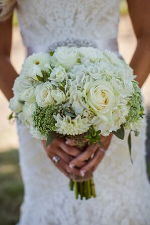 White Rose and Hydrangea Bridal Bouquet