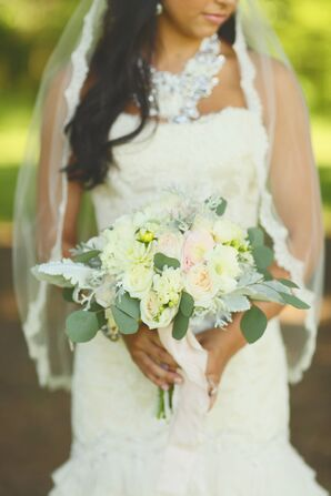 Natural Garden Rose and Eucalyptus Bouquet