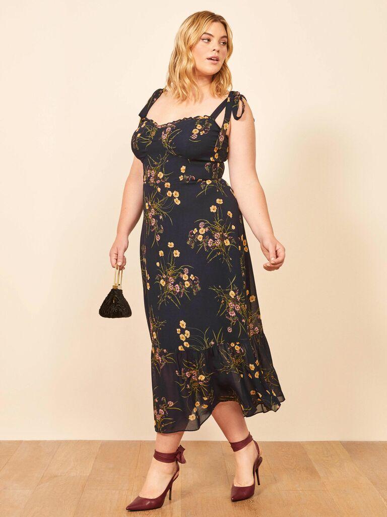 dark floral print midi dress with bustier bodice and skinny straps