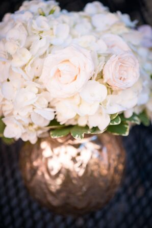 Cream Rose and Hydrangea Centerpieces