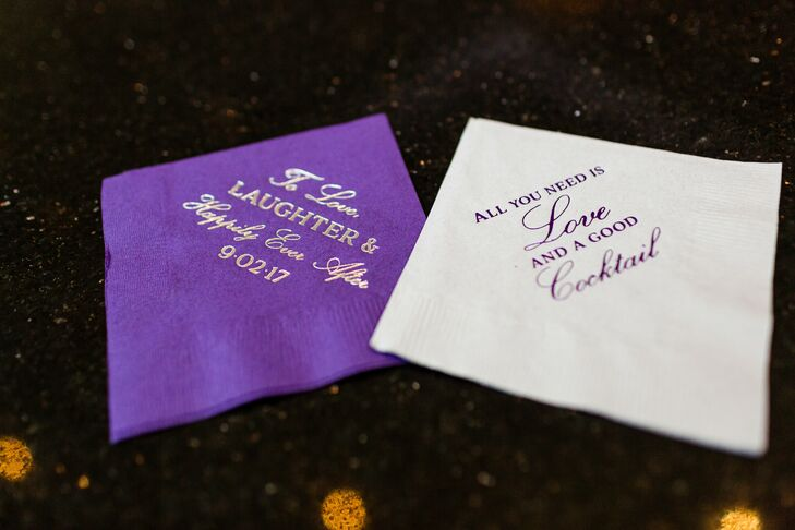 Personalized Purple and White Cocktail Napkins