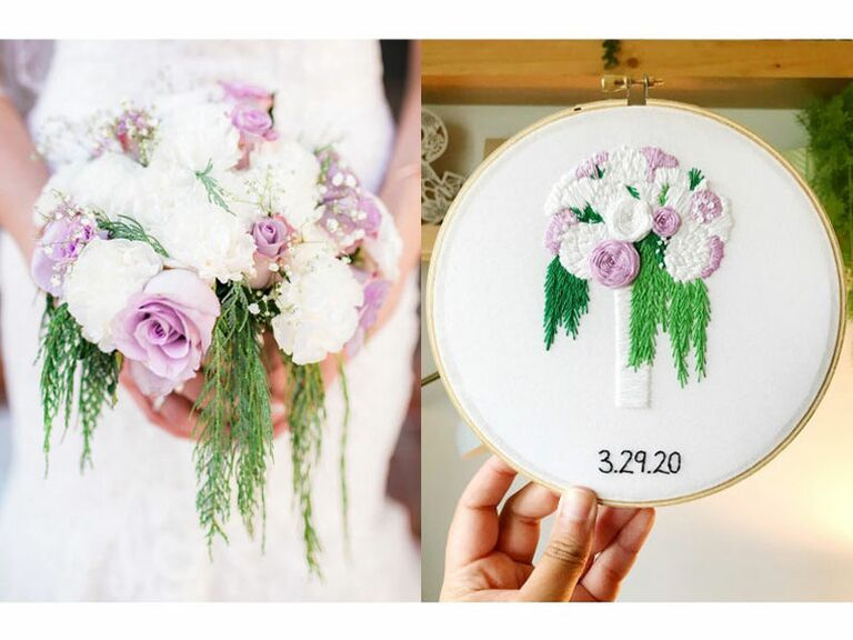 Embroidered wedding bouquet on linen fourth anniversary gift