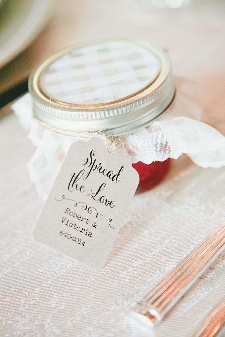 """""""For our favors, I had my mom and grandma make my most favorite strawberry jam,"""" Victoria says. """"We provided it at the tables for the guests to use with dinner or to take home. The jam was one of my favorite elements of the wedding."""""""