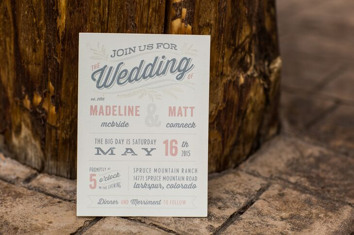 Minted.com created Madeline and Matt's stationery. The paper goods were printed on ivory stock with gray and blush writing, which totally set the tone for the day but was different enough to feel personal.