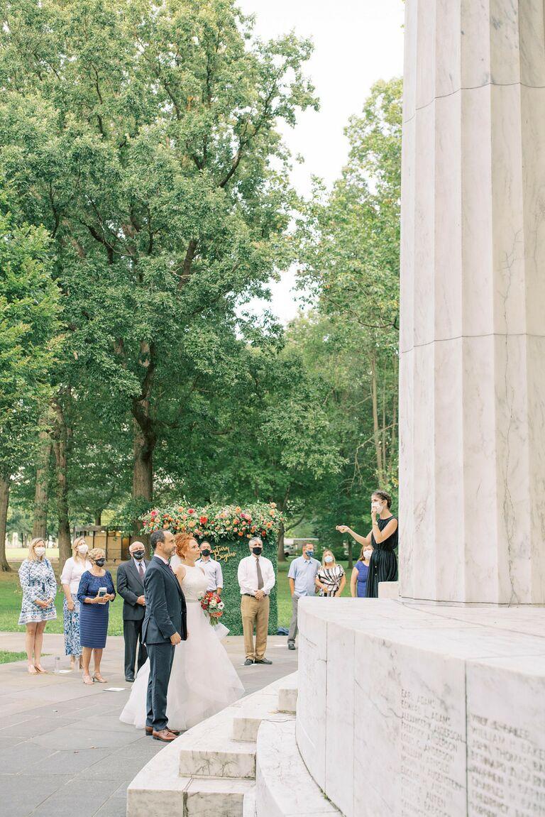 Wedding ceremony at Washington D.C. War Memorial