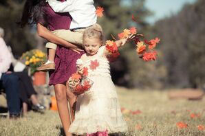 Cream Flower-Girl Dress With Fall Leaves