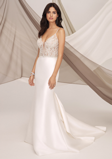 fit and flare wedding dress with sheer beaded bodice