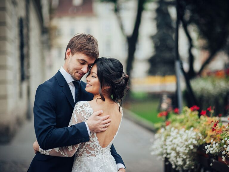 Bride and groom at elopement
